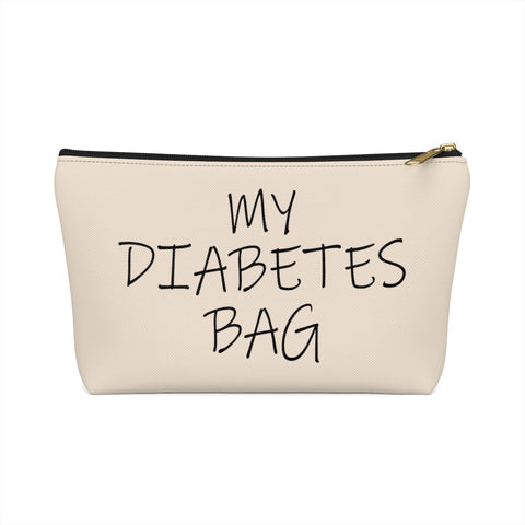 My Diabetes Bag, Diabetic Supply Bag Travel Case, Type 1 Diabetes Carrying Case, Accessory Zipper Pouch Purse w T-bottom
