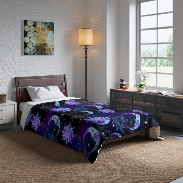 Sun Moon Stars Night Time, Crescent Moon, Celestial Art Astrology Night Sky, King Queen Twin Single Bed Comforter - Starcove Design