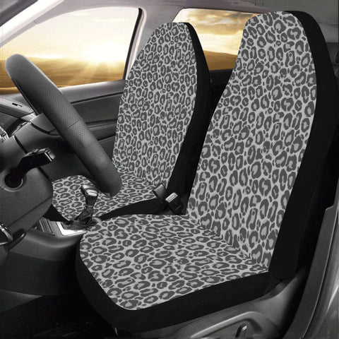 Leopard Car Seat Covers for Vehicle 2 pc, Grey Animal Print Black Pattern Front Seat Covers, Car SUV Gift Her Protector Accessory Decoration