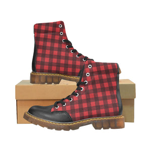 Red Buffalo Plaid Women's Boots, Black Check Lumberjack Vegan Leather Canvas Lace Up Shoes, Black Print Ankle Combat, Winter Custom Gift - Starcove Design