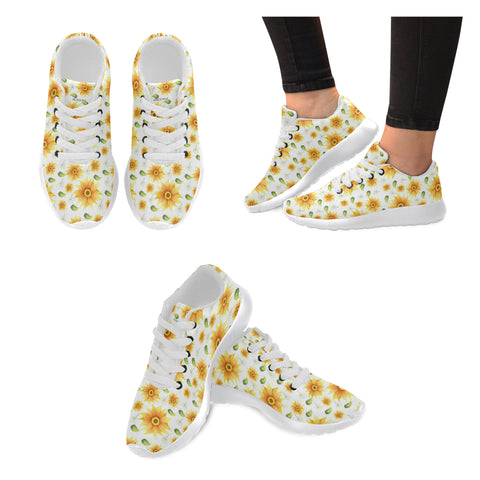 Sunflower Shoes, Cute Floral Women sneakers, Dandelion Casual Vegan Shoes, Sports Running Shoes