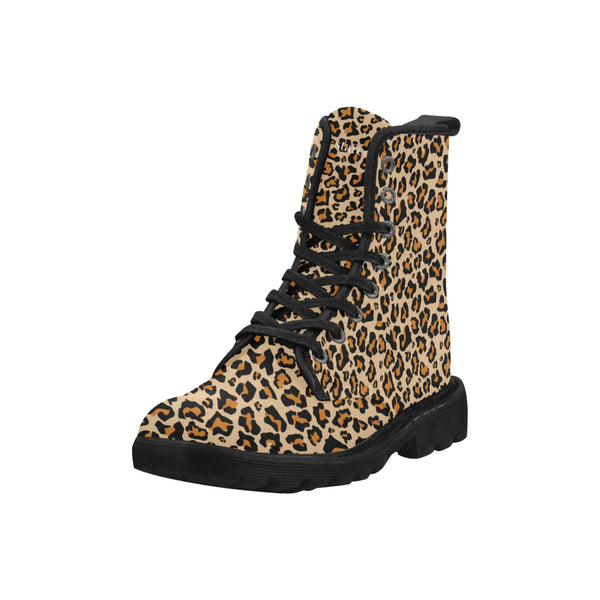Leopard Women's Boots, Animal Print Vegan Canvas Lace Up Shoes, Black Brown Cheetah Print Army Ankle Combat, Winter Casual Custom Gift - Starcove Design
