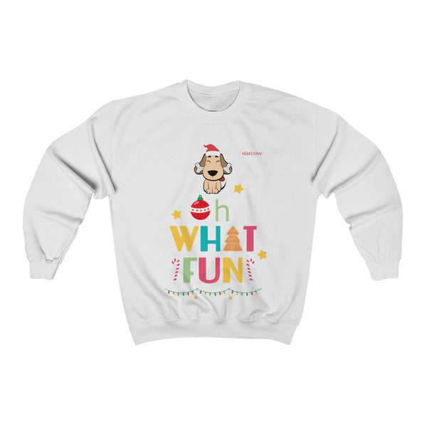Oh What Fun, Funny Christmas Sweater Ugly Xmas Party Cute Dog Tree Lights Candy Cane Santa Hat Gift Women Men - Starcove Design