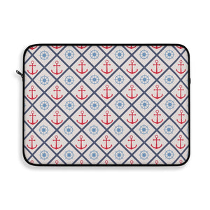 Anchor Laptop Sleeve Case, Nautical Steering Wheel MacBook Pro 12 13 Air 15 inch Tablet Skin Bag Zipper Cover