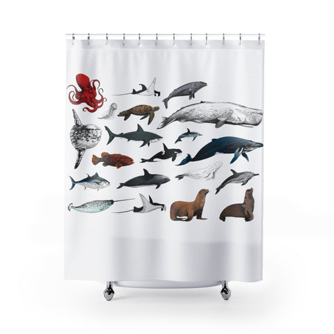 Nautical Shower Curtains, Ocean Sea Marine Life, Cute Whale Octopus Turtle Dolphin, Bath Bathroom Decor, Housewarming Gift - Starcove Design