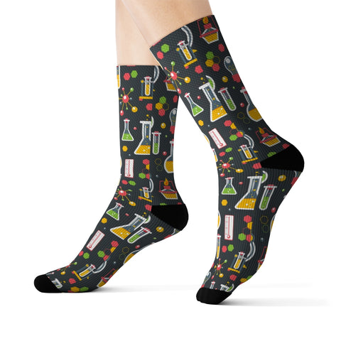 Chemistry Science Socks, 3D  Printed Sublimation Lab Research School Women Men Funny Fun Novelty Cool Funky Crazy Casual Cute Unique Gift - Starcove Design