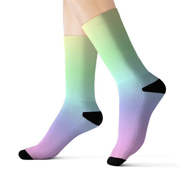 Pastel Rainbow 3D Socks, Ombre Gradient Tie Dye Kawaii Goth Pink Printed Sublimation Women Men Fun Novelty Cool Funky Crazy Gift - Starcove Design