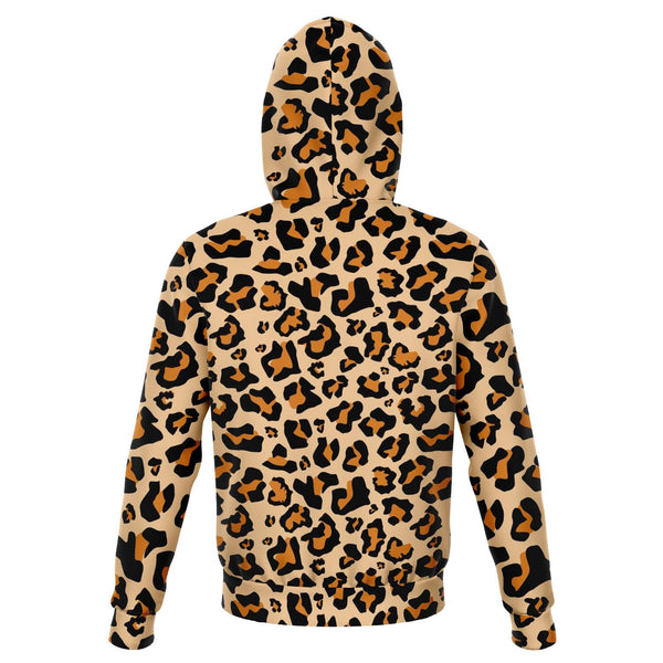 Leopard Hoodie, Animal Print Cheetah Big Cat Pullover Fleece Hoodie Sweater with Hood Plus Size - Starcove Design
