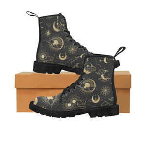 Sun Moon boots Women's Vegan Canvas Lace Up Shoes, Oriental Clouds Constellation Festival Print Black Ankle Combat, Casual Custom Gift - Starcove Design