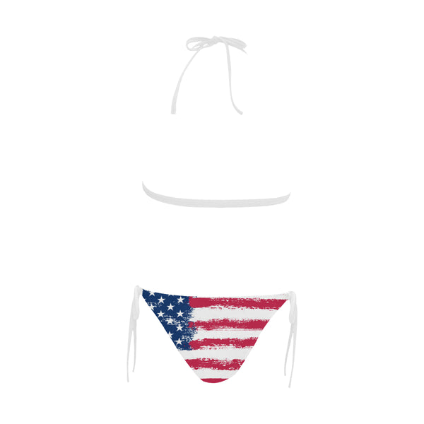 American flag High Waisted bikini Set, High Waist Bathing Suit, Sexy Red White Blue USA Stars and Stripes Halter Plus Size Swimsuit - Starcove Design