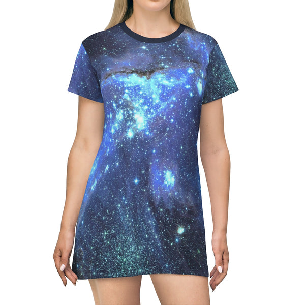 Space Galaxy T-shirt Dress, Blue Celestial Constellation Outer Space Star Print Festival Party Night Sky Casual Summer Dress - Starcove Design