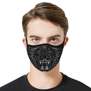 Black Lion Head Face Mask With Filter, Wild Fabric Dust Cloth Mouth Cover Fashion Washable Reusable Adult Men Women Kids Rave Mask - Starcove Design