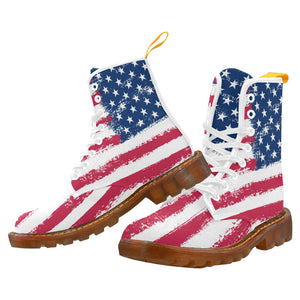 American flag Boots Women's Lace Up Canvas Boots (Model1203H) - Starcove Design