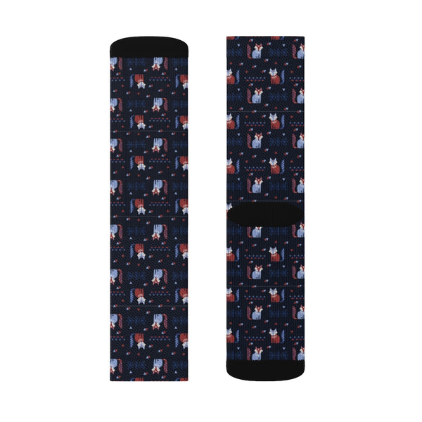 Navy Fox Socks, Blue Animal Pattern 3D Sublimation Women Men Funny Fun Novelty Cool Funky Crazy Casual Cute Crew Unique Gift - Starcove Design