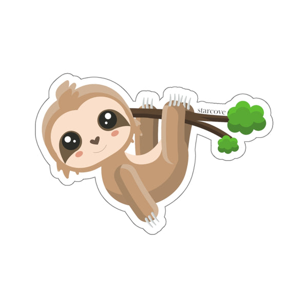 Sloth Sticker, Kawaii  Laptop Vinyl Cute Waterproof Waterbottle Tumbler Car Bumper Aesthetic Label Wall Phone Mural Decal Die Cut - Starcove Design