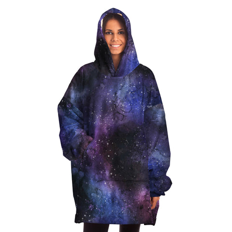 Galaxy Blanket Hoodie, Snug Wearable Hooded Blanket Purple Stars Night Sky Constellation Print Warm Winter Fleece Adult Men Women Large Throw