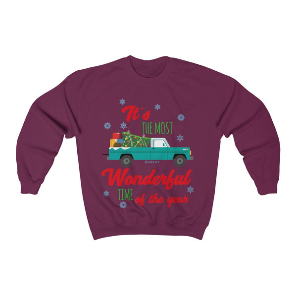 Red Christmas Truck Sweatshirt, Ugly Xmas Sweater Its the Most Wonderful Time of the Year, Farmhouse Snow Tree Plus Size - Starcove Design