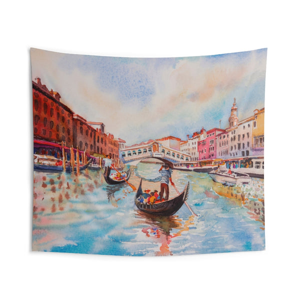 Venice Canal Tapestry, Watercolor Gondola Italy Landscape Indoor Wall Art Hanging Large Small Decor Home Dorm Room Gift - Starcove Design