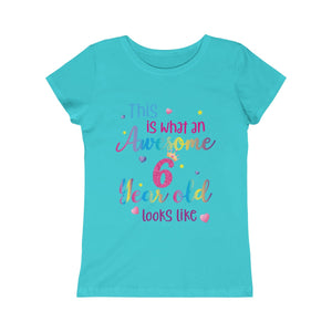 This is What an Awesome 6 Year Old Looks Like Girls Shirt, Birthday 6th Sixth Year Fun Rainbow Party Gift Kids Crewneck Girls Princess Tee - Starcove Design