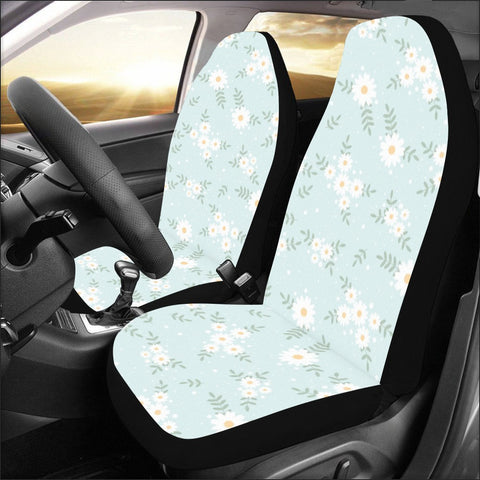 Pretty Daisy Flower Car Seat Covers for Vehicle 2 pc, Floral Blue Cute Front Seat, Car SUV Vans Gift for Her Truck Protector Accessory