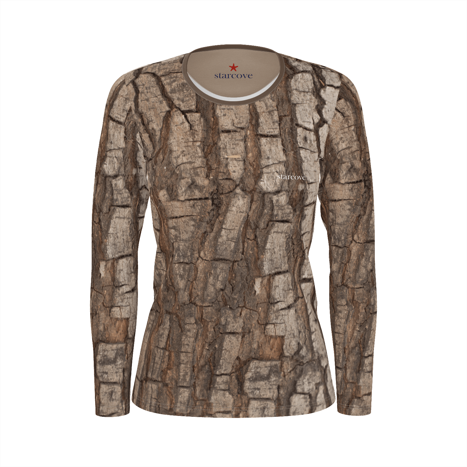Tree Bark Print Women Shirt, Nature Hunting Wood Camo Camouflage, Forest Costumes Cosplay, Women's Long Sleeve Top Eco Friendly Clothes - Starcove Design