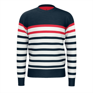 Vintage Striped Mens Sweater, Admiral Navy Sweatshirt, Blue Red White Retro Sailor Eco Friendly Fabric - Starcove Design