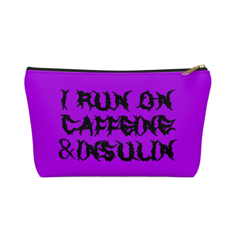 I Run on Caffeine & Insulin Bag, Fun Diabetic Supply Case, Horror Diabetes Bag, Accessory Pouch w T-bottom