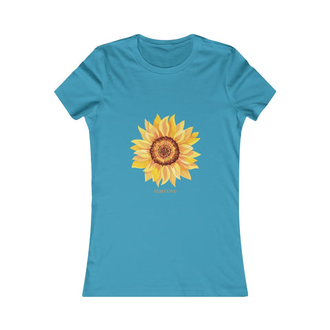 Sunflower Shirt, Yellow Flower Print Summer Women's Favorite Cotton Tee Top, Floral Outfit Longer Body length - Starcove Design