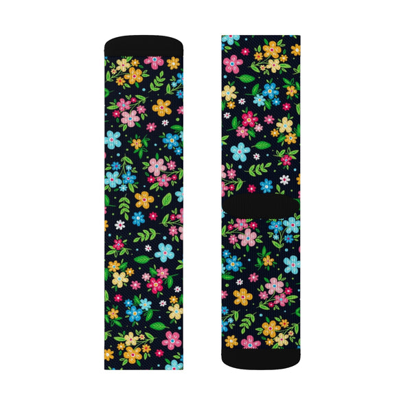 Floral Socks, Black Pattern 3D Sublimated Crew Socks Flowers Sublimation Women Men Dress Fun Novelty Cool Casual Cute Unique Gift - Starcove Design
