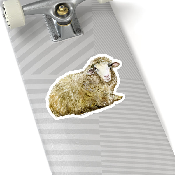 Sheep Stickers, Farm Animal Lamb Watercolor Laptop Vinyl Cute Waterbottle Tumbler Car Bumper Aesthetic Label Wall Mural Decal Die Cut - Starcove Design