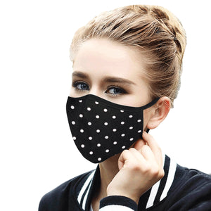 Black Polka Dot Face Mask With Filter, Fabric Dust Cloth Mouth Cover Fashion Washable Reusable Adult Men Women Kids Rave Mask - Starcove Design