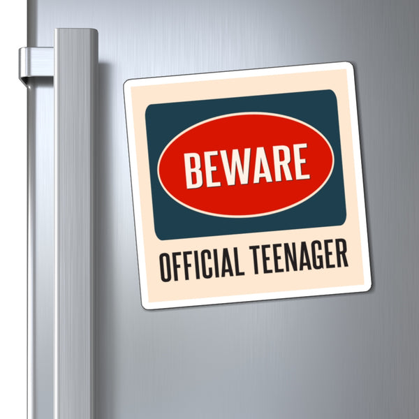 Beware Official Teenager Magnets, Caution Teenage Boys Girls Danger Gift 13 Year Old 13th Birthday Party Funny Locker Fridge Car - Starcove Design