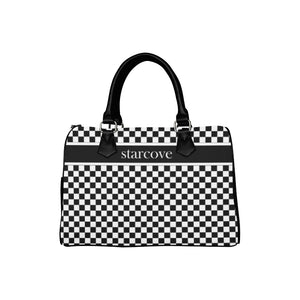 Black and White Handbag, Checkered Racing Print, Starcove Logo, Canvas and Leather Barrel Type Designer Handbag