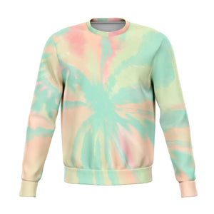 Pastel Tie Dye Sweatshirt, Crewneck Graphic Green Pink Blue Long Sleeve Sweater Jumper Pullover Top Kawaii Goth Cotton Clothing Plus Size - Starcove Design