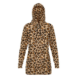 Leopard Hoodie Dress, Animal Print Cheetah Long Sleeve Sexy Winter Hooded Sweatshirt Dress with Pockets - Starcove Design