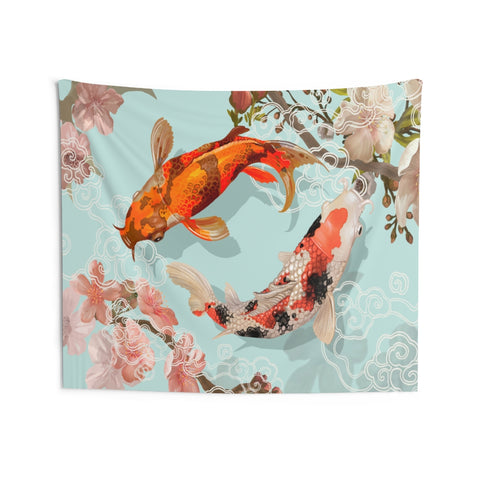 Koi Fish Tapestry, Landscape Indoor Wall Art Hanging Tapestries Large Small Decor Home Dorm Room Gift