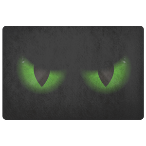 Green Evil Eyes Doormat, Funny Front Doormat, Humorous Scary Cat Halloween Outdoor Floor, Front Door Welcome Mat, Housewarming Gift - Starcove Design
