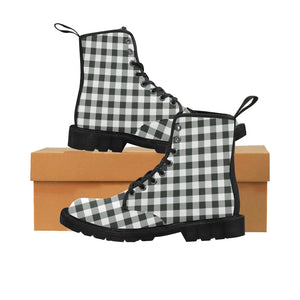 Black White Buffalo Plaid Women's Boots, Check Checkered Vegan Canvas Lace Up Shoes, Print Army Ankle Combat, Winter Casual Custom Gift - Starcove Design