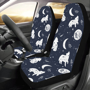 Wolf Moon Car Seat Covers 2 pc Retro Plants Night Navy Blue Front Seat Covers for Vehicle, Car SUV Truck Seat Protector Accessory Decoration