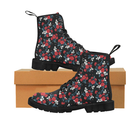 Red Roses Women's Boots, Floral Vegan Canvas Lace Up Shoes, Flower Magnolia Print Black Ankle Combat, Casual Custom Gift - Starcove Design