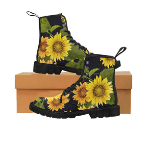 Sunflower Women's Boots, Floral Vegan Canvas Lace Up Shoes, Yellow Flower Print Black Ankle Combat, Casual Custom Gift - Starcove Design