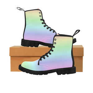 Pastel Rainbow Women's Boots, Gradient Ombre Pink Vegan Canvas Lace Up Shoes, Print Army Ankle Combat, Winter Casual Custom Gift - Starcove Design