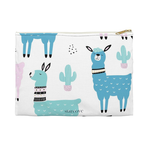 Llama Cactus Zipper Pouch, Cute Alpaca Pencil Travel Case, Birthday Party Makeup Cosmetic Beauty Coin Purse Accessory Pouch - Starcove Design