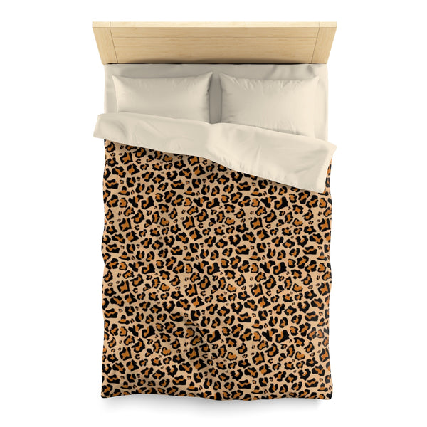 Leopard Duvet Cover, Animal Print Cheetah Queen Full Twin Microfiber Unique Vibrant Bed Cover Home Bedding - Starcove Design