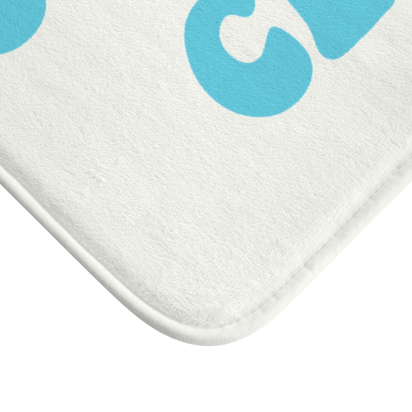 Squeaky Clean Bath Mat, Funny Turquoise Blue Non Slip Memory Foam Mat Small Large Microfiber Dorm Room Bathroom Shower Modern Rug - Starcove Design