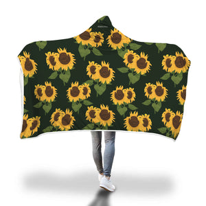 Sunflower Hooded Fleece Blanket, Floral Black Soft Cozy Fluffy Sherpa Interior, Adult Kids Wearable Cloak Wrap Winter Gift - Starcove Design