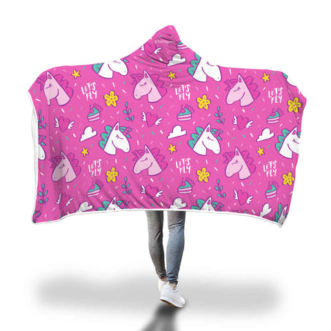 Pink Unicorn Hooded Fleece Blanket with Soft Cozy Fluffy Sherpa Interior, Adult Kids Wearable Cloak Wrap Winter Gift - Starcove Design