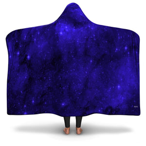 Hooded Blanket Adult Kids Outer Space Stars Constellation Cosmic Blue Sherpa Hood Soft Micro Fleece Wearable Cloak Winter Men Women Gift - Starcove Design
