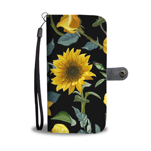 Sunflower Phone Wallet Case, iPhone 11 X 8 7 XS Max Samsung Galaxy, Cell RFID, Vegan Leather Wristlet Travel Wallet - Starcove Design