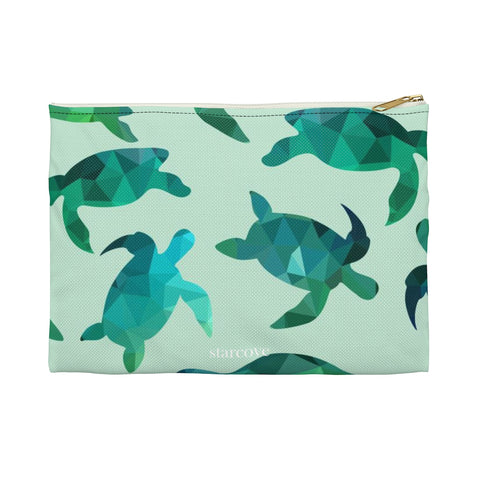 Sea Turtle Makeup Bag, Small Gifts for Her, Green Cosmetic Organizer, toiletry Travel Accessory Zip Pouch Zipper Clutch Pencil Case - Starcove Design